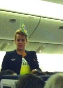 Comissária da Air France - comemorando o gol Brasil x Colômbia