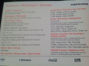 Bebidas disponíveis - gratuitas - durante o vôo