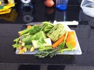 Ingredientes para caldo de legumes