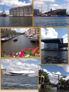 Paisagem de barco: museu da marinha, Nemo, canais, estação, pontes