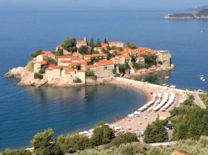 Ilha de Sveti Stefan, onde fica o Hotel Amam.