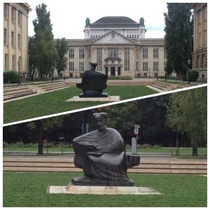 Escultura olhando para o Arquivo Nacional