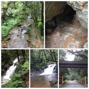 Portão de entrada do Parque , entrada da Gruta e imagens da cachoeira